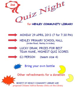 Henley Community Library Quiz Night returns to Henley Primary School on MONDAY 29 APRIL 2013