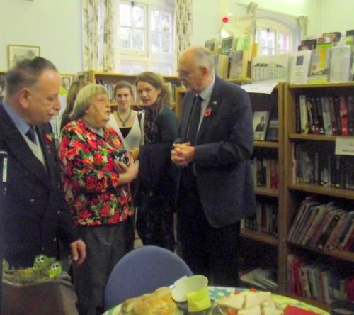 Beaudesert councillor Chris Milsom and Library director Margaret Stringer chat with Peter Crathorne of the Hub