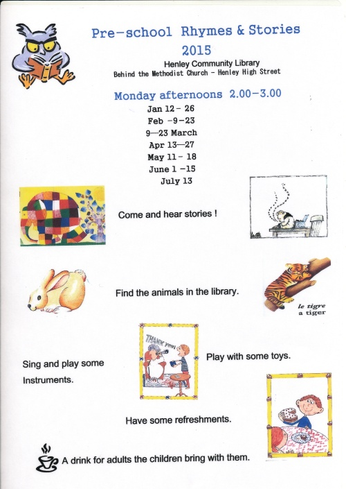 2015 Pre-School Rhymes and Stories Timetable
