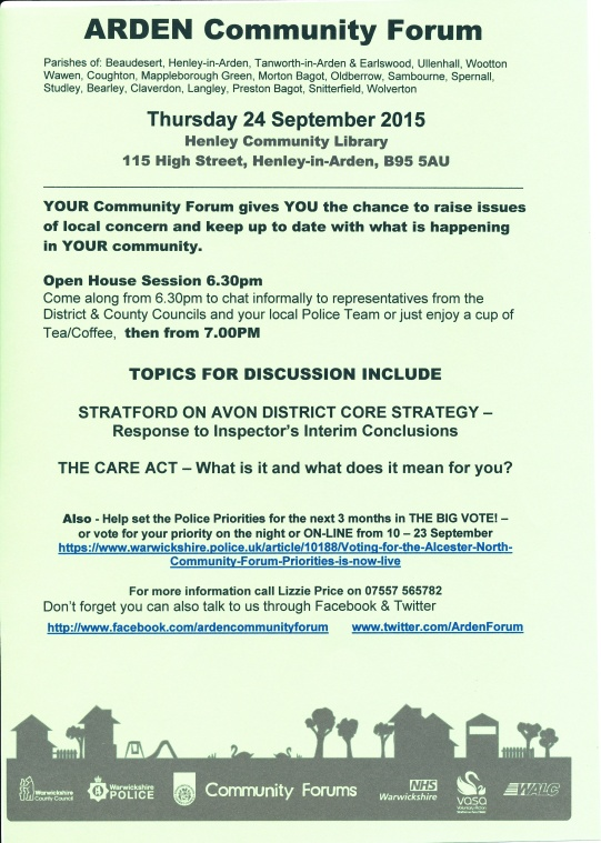 Arden Community Forum 24 Sept 2015