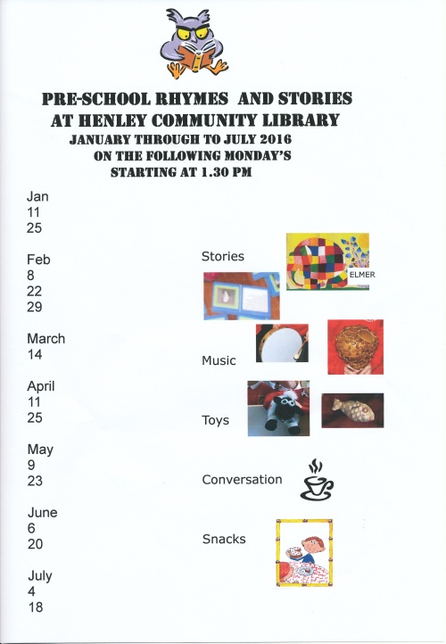 Rhymes and Stories Schedule Jan to July 2016