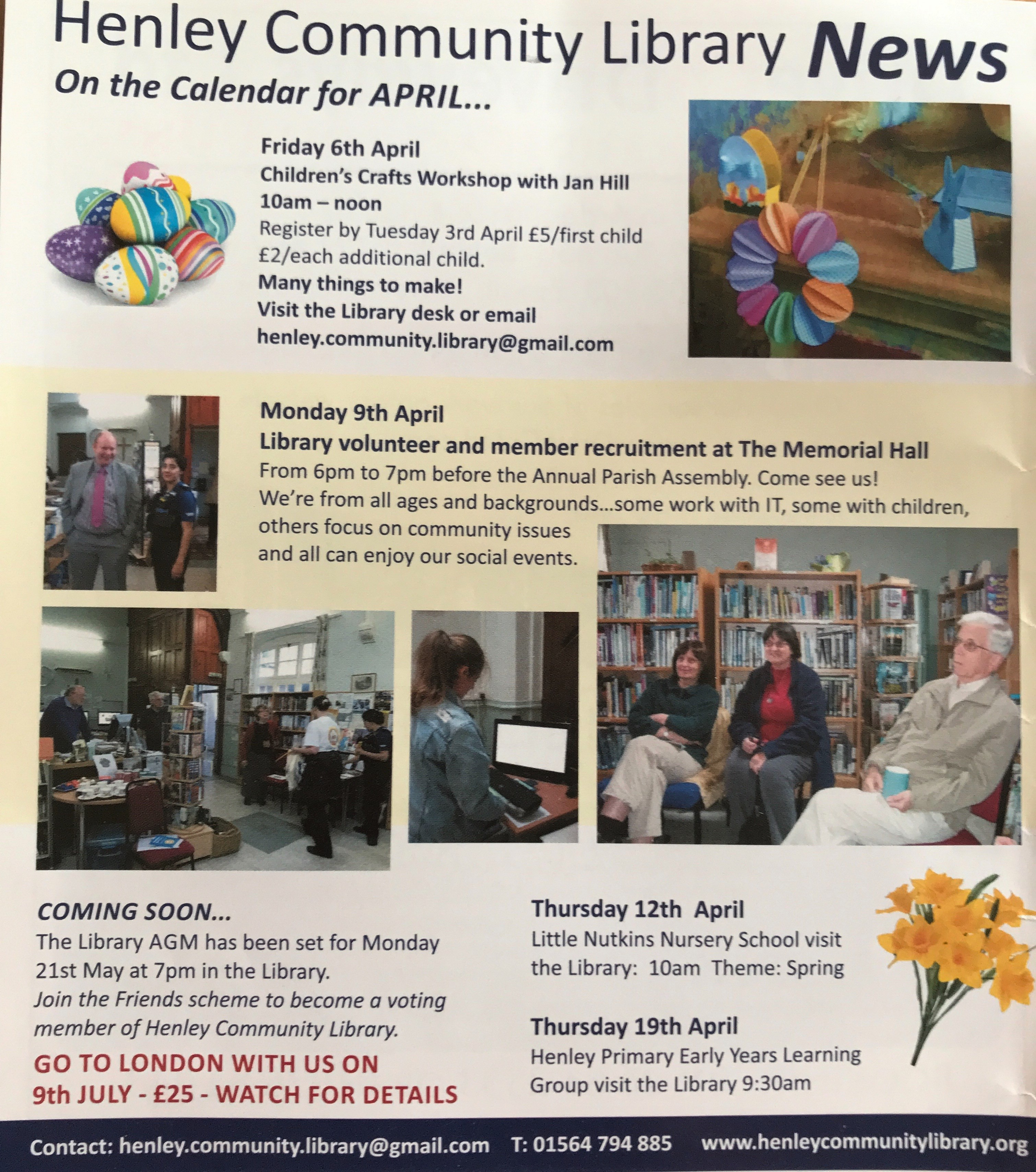 April S News Easter Crafts Volunteer Recruitment Trip To London